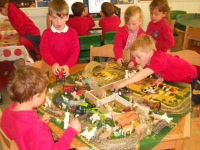 Learning about different environments and animals, through small world play.