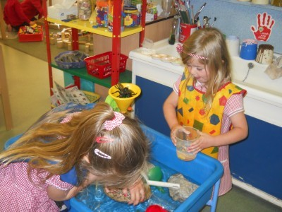 Children using water wheels, funnels, containers and sieves